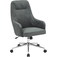 Marigold Desk Chair with Chrome Base, Graphite Velvet