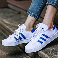 Adidas stan smith trendy men and women fashion sports shoes shellfish shoes F White+blue