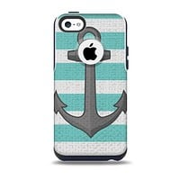The Trendy Grunge Green Striped With Anchor Skin for the iPhone 5c OtterBox Commuter Case