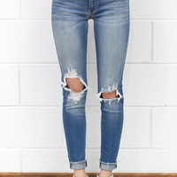 Distressed Ripped Knee + Frayed Hem Skinny Jeans {Medium Wash}