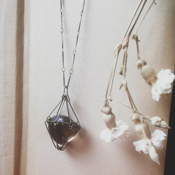 smoky quartz necklace • caged crystal necklace - crystal cage pendant - protection crystal - witch jewelry - smokey quartz