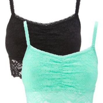 Black Combo Long Line Lace Bralettes - 2 Pack by Charlotte Russe