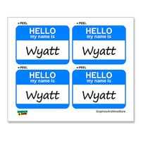 Wyatt Hello My Name Is - Sheet of 4 Stickers