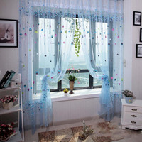 Blue Pink Air Balloon Print Door Window Balcony Sheer Panel Screen Curtains airballoon Tulle Volie Curtain Home Decorations