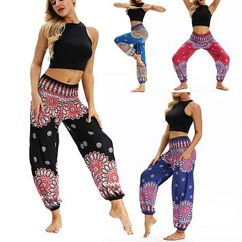 Casual Women Loose pants print Baggy Boho Aladdin  Fashion Trousers 2018  Harem Pants 8.29