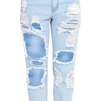 Light Wash Super Distress Mom Jean