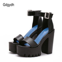 Gdgydh White Summer Sandal Shoes for Women 2017 New Arrival Thick Heels Sandals Platform Causel Russian Shoes