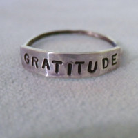 Size 6.5, Skinny Ring, Word Ring, GRATITUDE, Thin Ring, Handmade Sterling Silver Ring, Custom Word Ring, Personalized Ring, Arm Candy