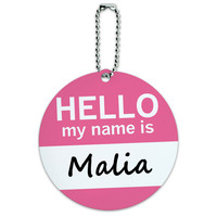 Malia Hello My Name Is Round ID Card Luggage Tag