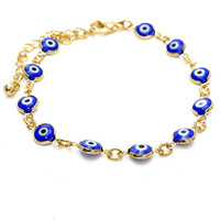Gold and Blue Evil Eye Beads Bracelet