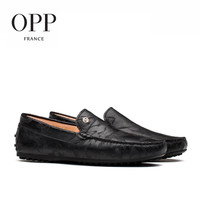 OPP Men's Flats Leather Loafers Fashion Casual Loafers Comfortable Shoes Embossed Leather Black/Brown