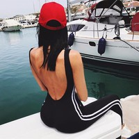 Women Sport Yoga Jumpsuit Gym Workout Fitness Leggings Pants Backless Athletic Jogging Clothes for Gym Running Set Sportswear