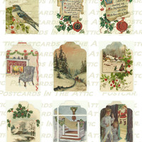 Christmas Gift Tags - 9 Old Fashioned Holiday Images -  PRINTABLE DOWNLOAD - Digital Designed Art - Gift Wrap - Accessories - Embelishment