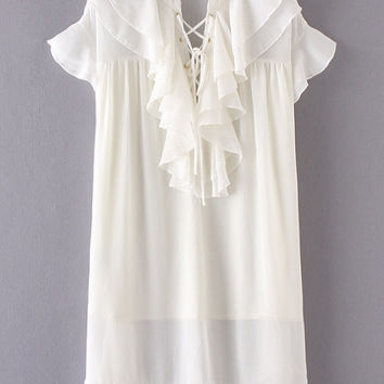 White Ruffle Lace Up Chiffon Dress