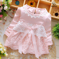 Baptism Free Drop Shipping 2015 New Summer Fashion Four Leave Grass Lace Children Baby Girls Short-sleeved Dress Dresses