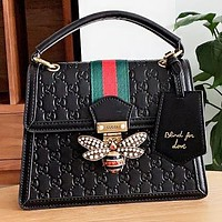GUCCI Fashion New More Letter Leather Shoulder Bag Crossbody Bag Handbag Black