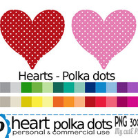 Heart Polka dots  - Clipart - 30 colors - 30 PNG files - 300 dpi - Instant download - Transparent PNG-  valentine's day -CA12