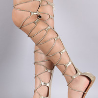 Strappy Braided Lace-Up Gladiator Flat Sandal