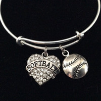Softball Crystal Heart Charm on a Silver Expandable Bangle Bracelet Sports Team Coach Gift Adjustable