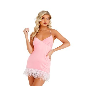 Roma Confidential LI400 - Soft Satin Chemise with Ostrich Feathered Trim