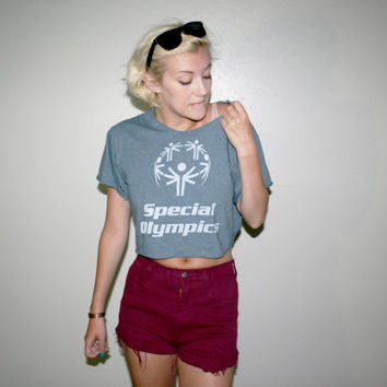 90s Altered Special Olympics Crop Top Tee
