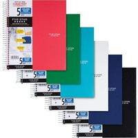 Five Star® Wirebound Notebook, 5 Subject, College Ruled, Asst. Colors (06208) | Staples