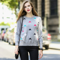 Mushroom Print Knitted Pullover Sweater