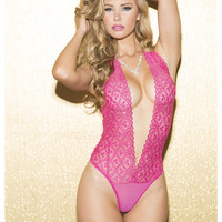 Valentines Lace Halter Teddy W-slit In Front & Sequence Hot Pink Md