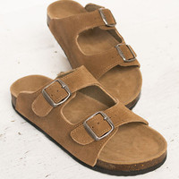 Leather Buckle Slip On Shoes