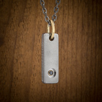 Steel Gold and Black Diamond Tag Pendant Necklace