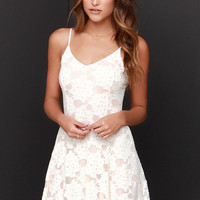 Fleur de Lace Ivory and Peach Lace Dress