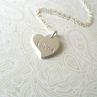 Loved Heart Charm Necklace Sterling and Thai Silver-Gift for Best Friend, Gift for daughter, Gift for Niece