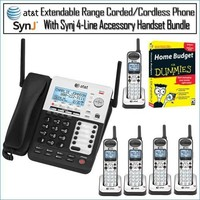 AT&T SB67138 Dect 6.0 with 1 Handset Landline Telephone + 4 Additional Cordless Phone Accessory Handsets + Aristic 25 Foot Coiled Handset Cord