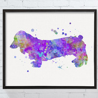 Long Haired Dachshund Art Print, Watercolor Dachshund, Dachshund Gifts, Dachshund Ornaments, Dachshund Wall Decor, Dog Silhouette, Nursery
