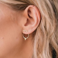 Trendy Minimal Bar Tri-Bead Stud Earrings