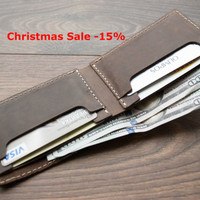 Christmas Sale -15% Leather Wallet, Mens leather wallet, bifold wallet, Slim Wallet, thin leather wallet, man wallet, Traditional