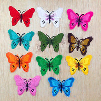 2pcs Butterfly Iron On Embroidered Applique Sewing Scrapbook Cloth DIY Patch HU