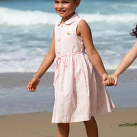 Pink Floral Print on White Casual Dress with Waist Tie for Spring & Summer Wear (Girls 2T to Size 8)