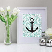 Nautical Anchor with Ocean Life Background - 8x10 Print - Instant Download - Digital Purchase - Nursery Art - Home Decor