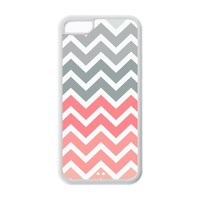 iPhone 5C Case - Popular Pink Fade Chevron Zigzag Apple iPhone 5C (Cheap IPhone 5) Waterproof TPU Back Cases Covers