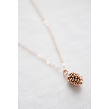 Rose Gold Pinecone Drop Necklace