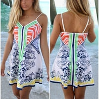 Playa Del Carmen Printed Flare Skirt Sundress