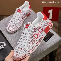 Dolce & Gabbana trend full letter printed lace-up shoes men's casual shoes White+red letter