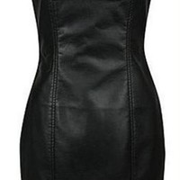 Sexy Leather Pencil Prom Strapless Dress