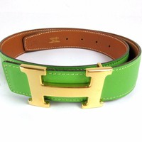 Auth Excellent HERMES H Buckle Constance Reversible Leather Belt #65 Box 43041 B