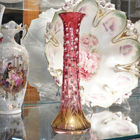 Moser Bohemian Cranberry Glass Trumpet Vase Applied Enamel Lily of the Valley Flowers in Relief Victorian 1880s Art Nouveau Hand Blown Glass