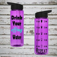 Drink Your Effing Water 24oz Water Intake Tracker. Gym Water Bottle. Personalized Water Bottle. Hourly Reminders. Healthy.