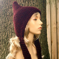 Hand Knit Hat Pixie Hat in Wine Autumn Accessories by pixiebell