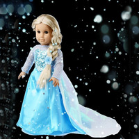 Elsa Sparkle Princess Dress for American Girl Doll 18""