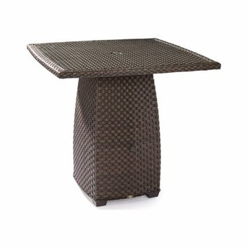 "Leeward Outdoor Wicker 48"" High Dining Table with Glass Top"